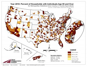 Percent of Households with 1 or More Individuals Age 65 and Over, 2010 Census, MSA Only